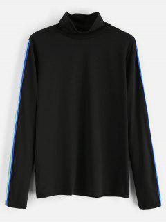 Contraste Rainbow Trim Camiseta De Cuello Alto - Negro M