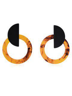 Hollow Round Geometric Deisgn Stud Earrings - Light Brown