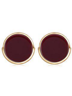 Round Geometric Shape Alloy Stud Earrings - Red Wine
