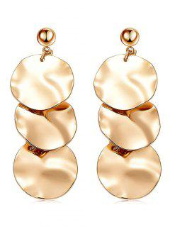 Layer Round Shape Dangle Earrings - Gold
