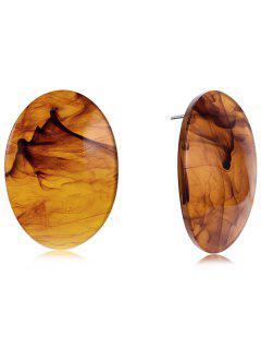 Oval Shape Fog Print Stud Earrings - Brown