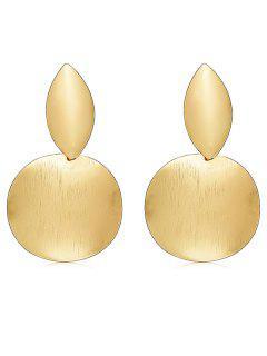 Round Geometric Shape Metal Earrings - Gold