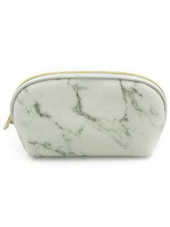 Portable Marble Pattern Zipper Makeup Bag - White