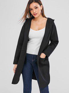Open Front Hooded Longline Cardigan - Black