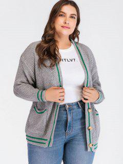 Plus Size Striped Preppy Cardigan - Gray