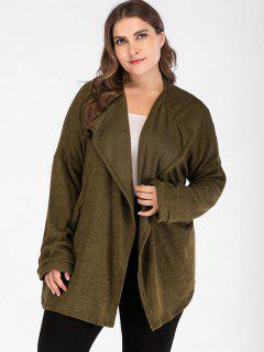 Cosy Plus Size Cardigan - Army Green 1x