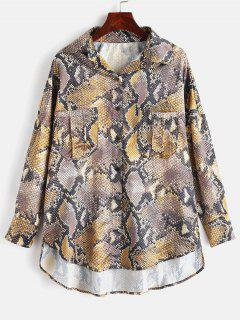 Snakeskin Loose High Low Shirt - Multi L