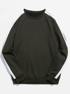 Stripe Contrast Fleece Lined Sweatshirt - Army Green Xs