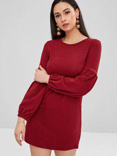 Balloon Sleeve Mini Sweater Dress - Red Wine L