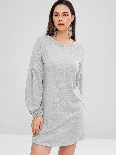 Balloon Sleeve Mini Sweater Dress - Gray L