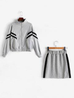 Ensemble Sweat Et Mini Jupe Terry Co Ord - Gris