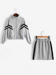 Terry Sweatshirt And Mini Skirt Co Ord Set - Gray
