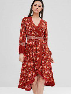 Floral High Low Surplice Boho Dress - Multi L