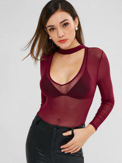 Mesh Sheer Cut Out Bodysuit - Red Wine L