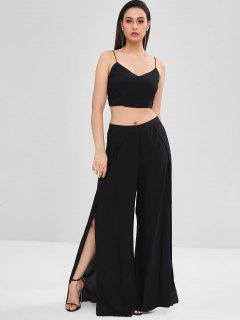 Lace Up Cami Top Wide Leg Pants Co Ord Set - Black Xs
