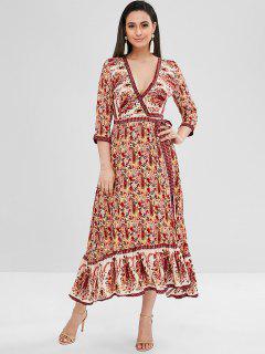 Vestido Largo Estampado Floral Con Volantes - Multicolor M