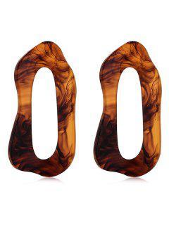 Irregualr Geometric Shape Hollow Stud Earrings - Light Brown