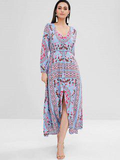 Maxi Floral Boho Long Sleeve Dress - Multi L
