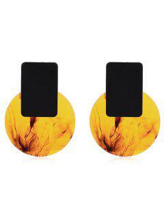 Fog Print Round Geometric Shape Stud Earrings - Orange Gold