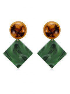 Fog Printed Geometric Shape Drop Earrings - Medium Sea Green
