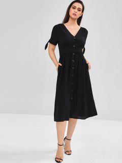 A Line Button Through Midi Dress - Black Xl