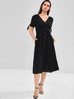 A Line Button Through Midi Dress - Black M