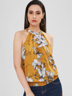 Blusa Sin Mangas Con Cuello Redondo Y Estampado Floral - Mostaza Xs