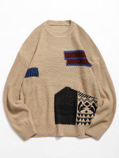 Geometric Pattern Pullover Knitted Sweater - Camel Brown L