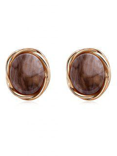 Round Shaped Artificial Gem Stud Earrings - Brown