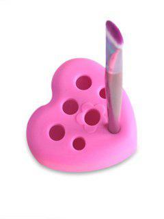 Outil Pour Nettoyage De Pinceau De Maquillage Multifonctionnel En Forme De Cœur En Silicone - Rouge Rose
