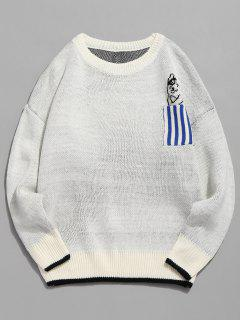 Striped Pocket Contrast Knitted Sweater - White L