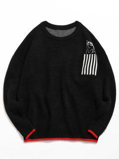 Striped Pocket Contrast Knitted Sweater - Black L