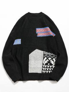 Geometric Pattern Pullover Knitted Sweater - Black M