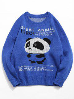 Panda Letter Pullover Knitted Sweater - Blue Xl