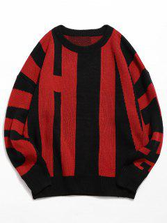 Personality Letter Knitted Sweater - Red Xl