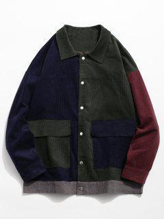 Color Block Flap Pocket Corduroy Jacket - Dark Green Xl