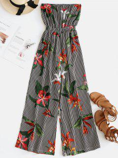 ZAFUL Strapless Stripes Floral Jumpsuit - Multi S