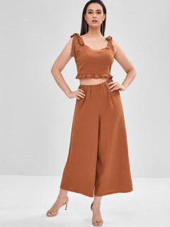 ZAFUL Ruffles Crop Top And Loose Pants Set - Tiger Orange S
