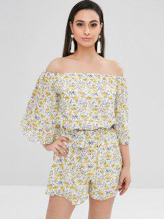 Off The Shoulder Printed Romper - Multi Xl