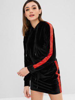 Contrast Velvet Hoodie And Skirt Set - Black M