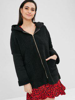 Two Pockets Hooded Faux Fur Coat - Black Xl