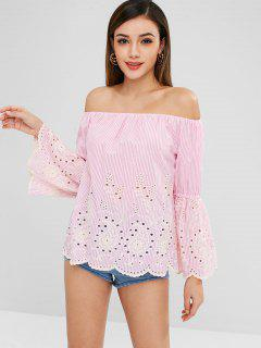 Striped Embroidered Off The Shoulder Top - Pink Xs