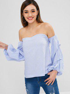Off The Shoulder Ruched Sleeve Gingham Blouse - Light Blue S