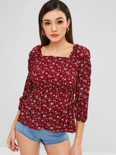 Square Neck Floral Print Peplum Top - Red Wine L