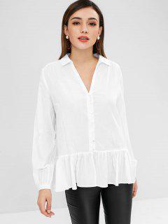 Blouson Ärmel Rüschensaum Shirt - Weiß L