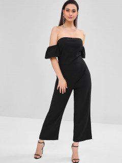 Wide Leg Off The Shoulder Jumpsuit - Black Xs