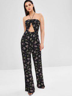 Halter Cut Out Floral Wide Leg Jumpsuit - Black L