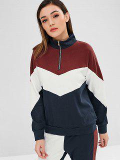 Color Block Loose Half Zip Sweatshirt - Multi M