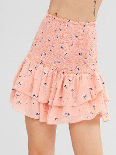 Floral Print Smocked Mini Skirt - Orange Pink M