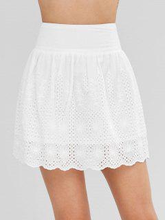 Anglaise Broderie Cotton Mini Skirt - White L